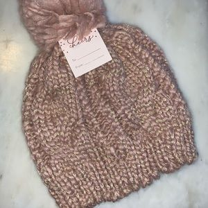 LC Lauren Conrad Cable Knit beanie with Pom Pom